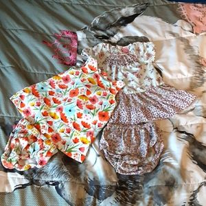 2/$15 dresses with matching diaper cover